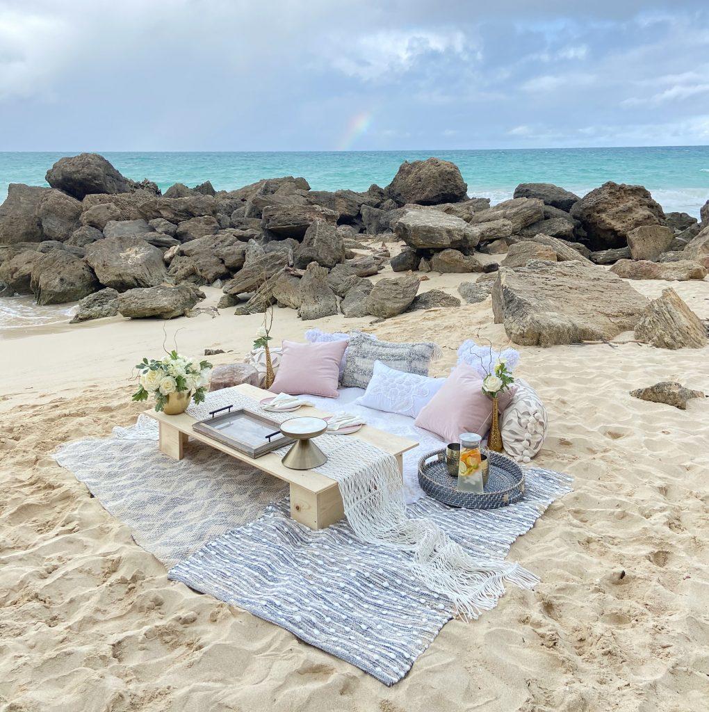 Luxury Dessert Beach Picnics by Melissa Meyer Oahu Hawaii Beach Picnic Chef Created Desserts Celebration